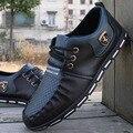Zapatos de los hombres 2016 de La Moda de Los Zapatos Habituales Hombres Zapato De Cuero Ocasional de LA PU Pisos Bajos de Los Hombres de Los Hombres Calzado de Rayas zapatos de Conducción Respirables mocasines