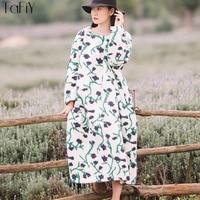 TaFiY Winter Dresses 2017 Vestidos Women Dress Vintage O neck Floral Wool Thickening Thermal Dress Plus Size Woolen Long Robes