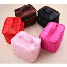 Cosmetic Bags Striped Pattern Organizer Makeup Bag