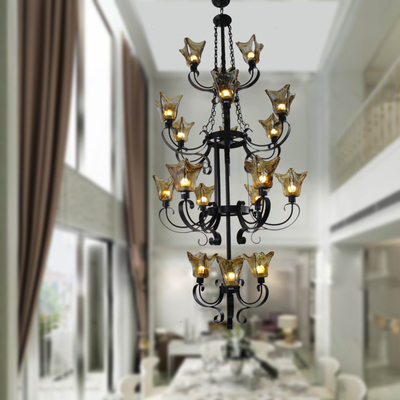 Duplex building large antique Wrought iron chandelier coffee amber color glass lampshade Hotel American vintage light chandelier evolis avansia duplex expert smart