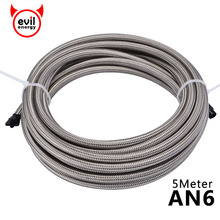 evil energy AN6 5Meter Braided PTFE Oil Line Fuel Hose Oil Gasoline Brake Line Hose For Racing Motorcycle PTFE Hose evil energy an6 1meter braided ptfe oil line fuel hose oil gasoline brake line hose for racing motorcycle 3 3ft ptfe hose