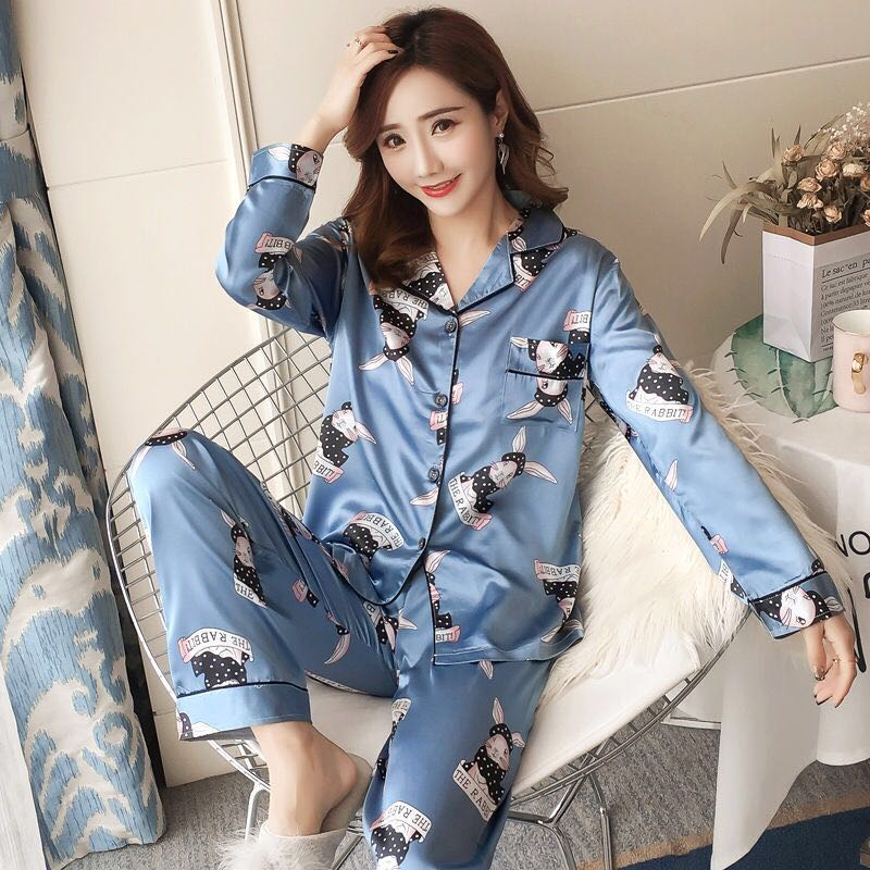 Sexy Print   Pajamas     Set   Women Silk Rayon Summer Pyjamas Female Long Shirt Pants Stitch Lingerie Home Sleepwear