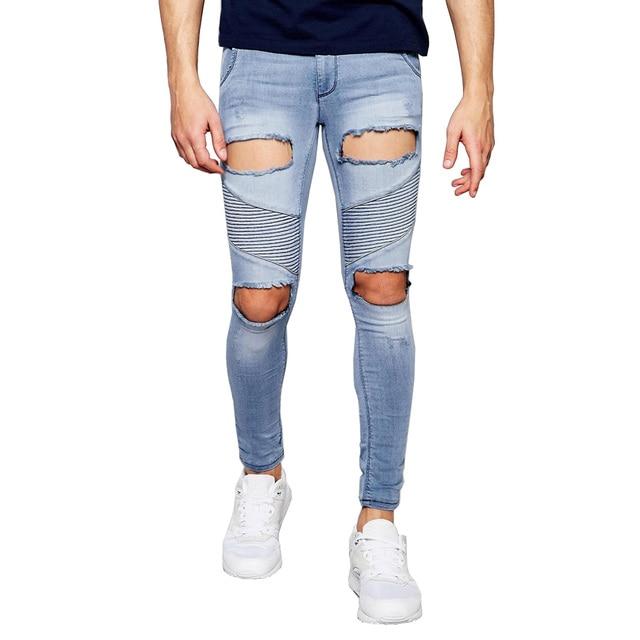 5ea12eff8a489 € 17.22 10% de réduction 2017 nouveaux hommes Jeans extrême déchirures trou  Hip Hop créateur de mode marque Slim Skinny Denim en détresse Biker ...