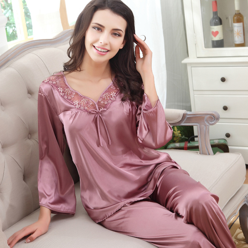 Hollow out Silk   Pajamas   ladies summer and autumn silk home clothes long sleeve two-piece lace large size   pajama     set