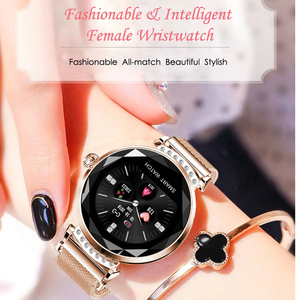 Image 2 - Huacp אופנה H2 חכם שעון נשים מנוסח 3D יהלומי זכוכית לב קצב דם לחץ שינה צג יום הולדת מתנת גברת tracker