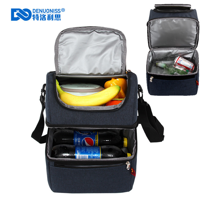Camping Dual Compartment Insulated Soft Picnic Bag with Ice Pack Water-Resistant Leakproof Cooler Thermal Lunch