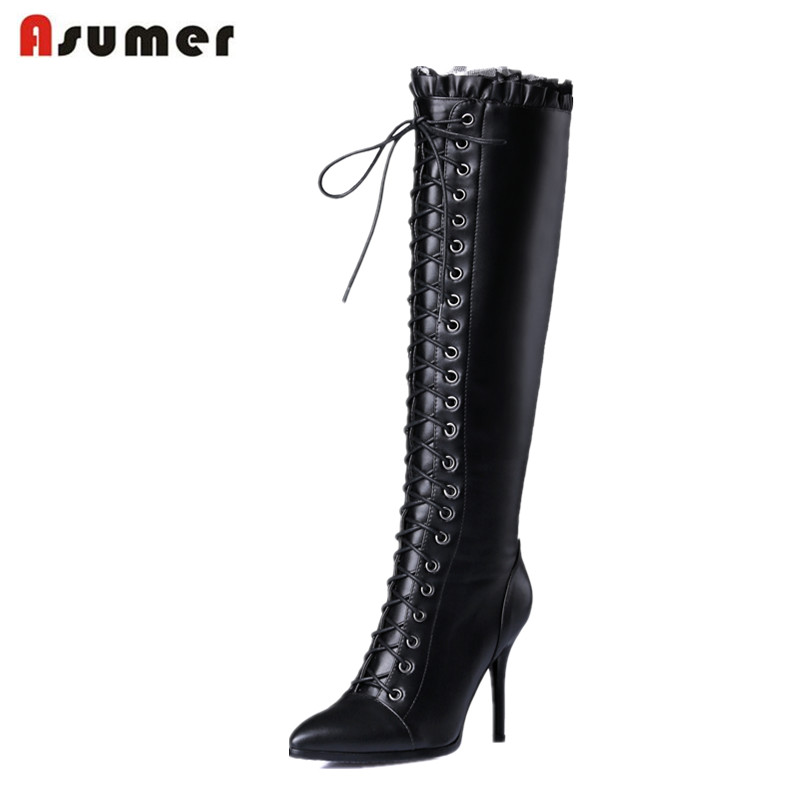 ASUMER Knee high long boots shoes pointed toe genuine leather + pu high heels boots zipper solid autumn fashion women bootsASUMER Knee high long boots shoes pointed toe genuine leather + pu high heels boots zipper solid autumn fashion women boots