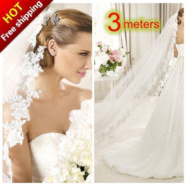 2016 Real Photos White Ivory Wedding Veil lace 3m Long With Comb Lace Mantilla Bridal Veil Wedding Accessories Veu De Noiva