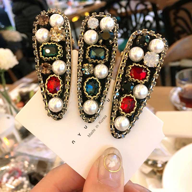 Retro Pearl Color Diamond Hairpin Duckbill Clip Luxury Hair Barrettes Adult   Headwear   Hair Accessories For Women