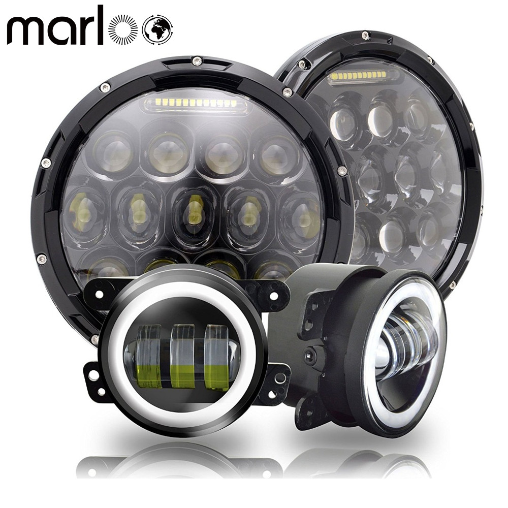 Marloo 7 Round 75W LED Headlights Hi/Lo Beam + 4 Led Fog Lights Projector DRL Halo For Jeep Wrangler JK TJ LJ Rubicon Sahara marloo dot 7 inch 120w 9000 lumens hi lo beam led headlights with side halo ring drl turn signal for jeep wrangler jk tj lj