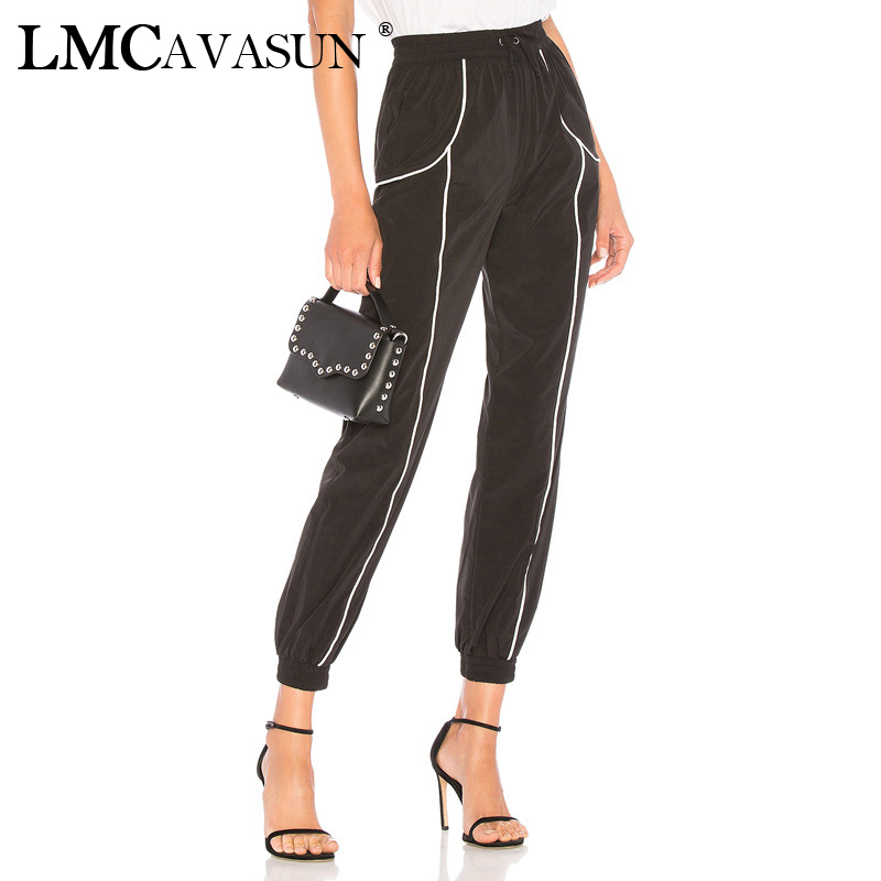 LMCAVASUN Panelled Drawstring Pockets Jogger   Pant   Women Casual Sporting Pencil Cargo   Pants   Full Length Autumn Loose   Capris