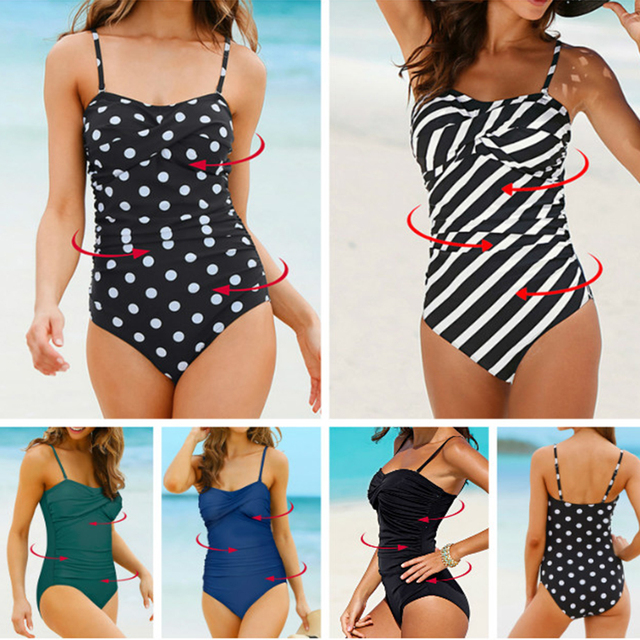 24edc4e1a3 Vintage Plus Size Wrap Chest Swimsuit for Women Polka Dot Shape Body  Swimming Suits Zebra Push Up Swimwear Black Beachwear 4XL
