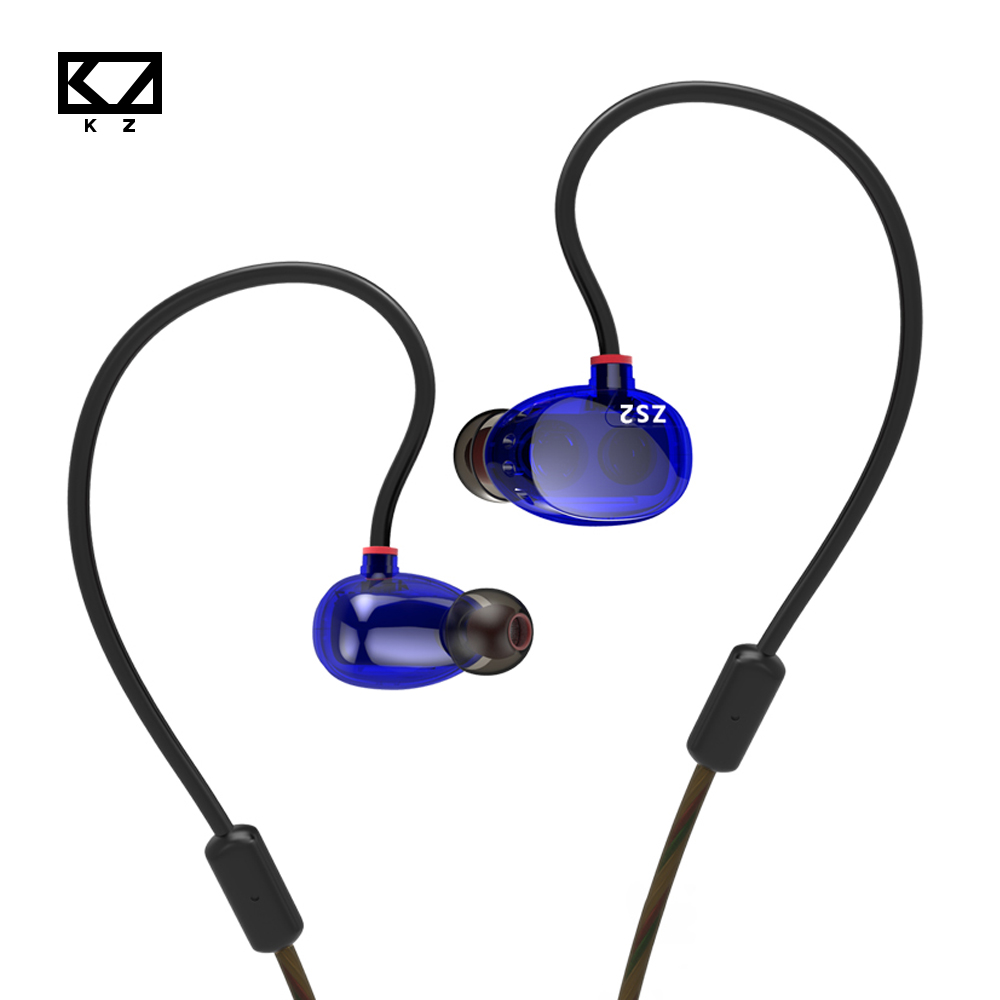KZ ZS2 Dark Blue Earphone With/Without Mic & Noise Reduction Earbuds For Android/IOS Smartphone Xiaomi Iphone PC Ear Hook Style kz zs3 hifi earphone headset headphones metal heavy bass sound with without mic for android ios smartphone xiaomi iphone oppo pc