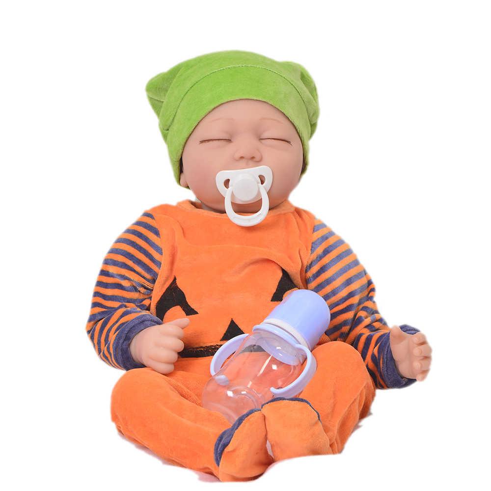 Vivo dormindo bebê renascer 22 silicone vinyl silicone vinil boneca recém nascido adorável bebê brinquedos pano corpo toque macio quente crianças presentes de aniversário