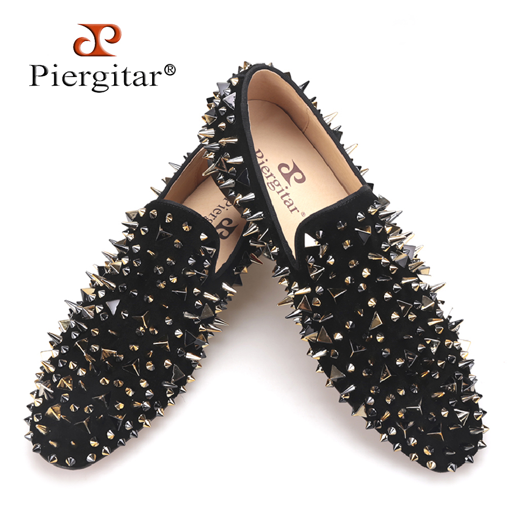 Piergitar new arrive men suede shoes with gold and black rivet Fashion party and banquet men loafers Euro style smoking slipper new arrival dreambox cow suede shoes gold and black rivets fashionable parties and banquets men s shoes european style smok