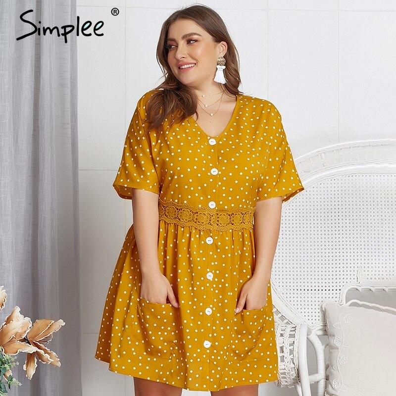 Simplee плюс размер, Женский Печатный принт, короткое платье, элегантное женское летнее платье с v-образным вырезом, кружевной подол, повседневн...