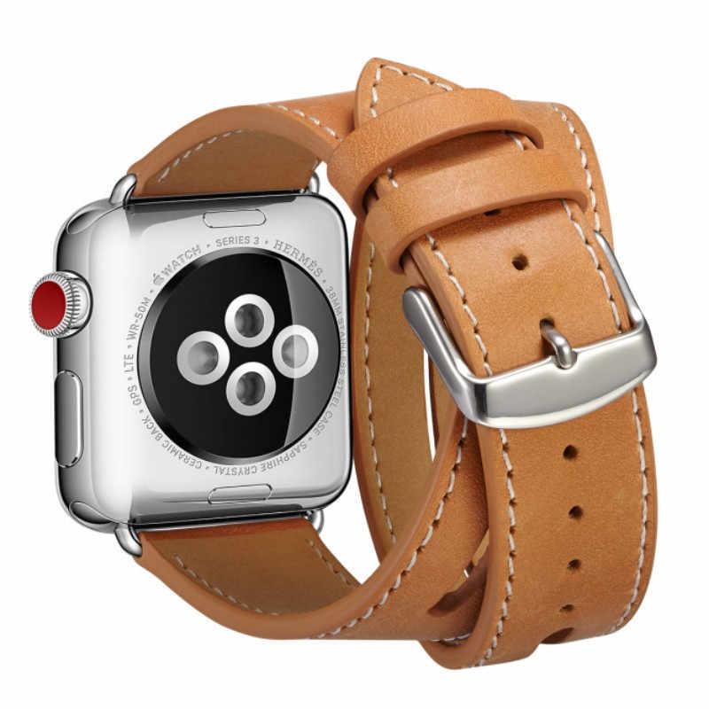 ארוך במיוחד רצועת עור כפול סיור צמיד עור רצועת החלפת רצועת השעון עבור אפל שעון סדרת 1 2 3 38mm 42mm 40mm 44