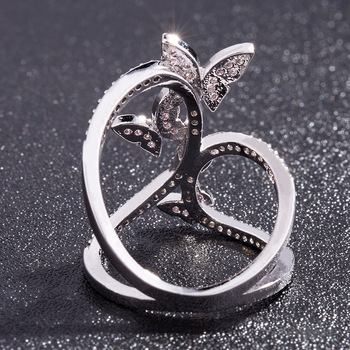 Butterfly Crystal Zircon Wings Ring for Women Love Jewelry Girls Trendy Wedding Bands 3