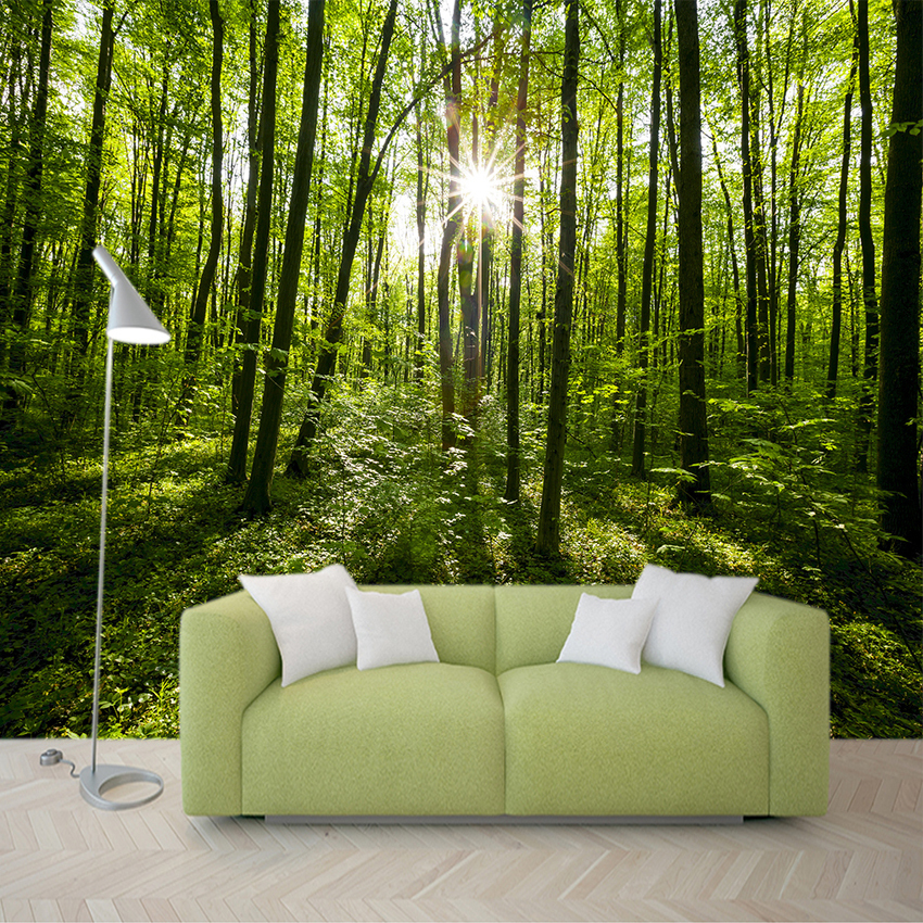 Country Style Green Forest Nature Landscape Photo Mural Environmental Friendly Non-woven Straw 3D Customized Wallpaper For Wall