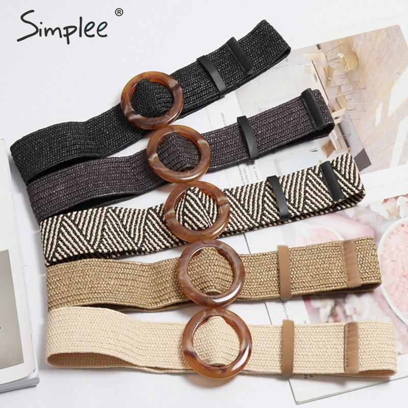 Simplee Bohemian wide   belt   for women Straw buckle   belt   decoration dress   belt   Casual female braided wide strap jade accessories