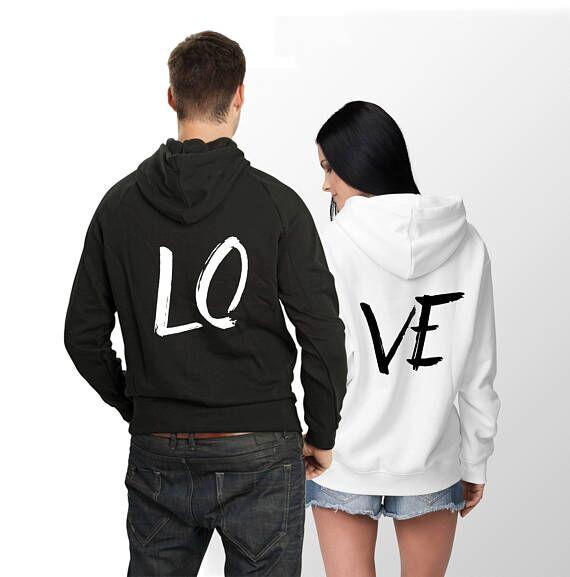 Oversize mujer y hombre Streetwear LO VE letra imprimir sudaderas con capucha suelta manga larga pareja desgaste Moleton chándal pulóver