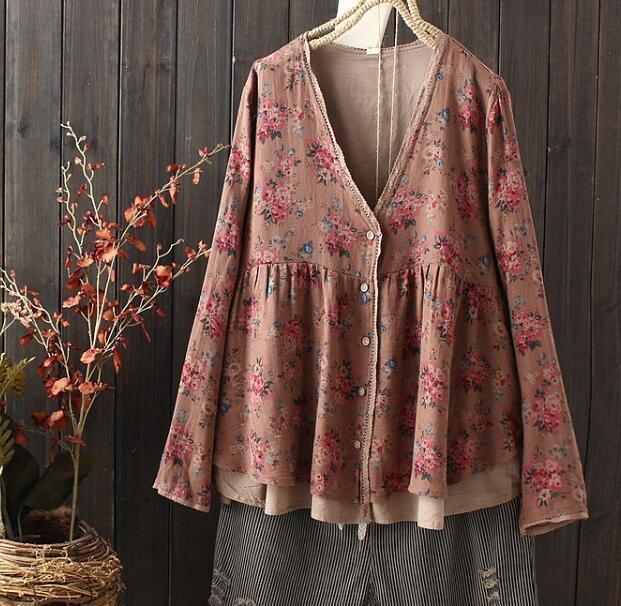 flowers print Pastoral Floral Arts lacing Cardigan shirt vintage  doll shirt top mori girl