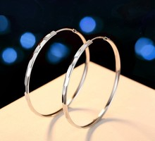 CAREL  SILVER sterling silver S925 circle large earrings color and gloss lasting