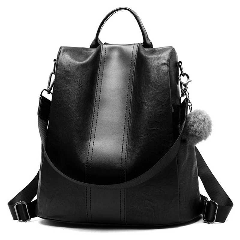 Qualidade de couro anti-ladrão mochila feminina grande capacidade bola de cabelo saco de escola para adolescente meninas masculino sacos de viagem