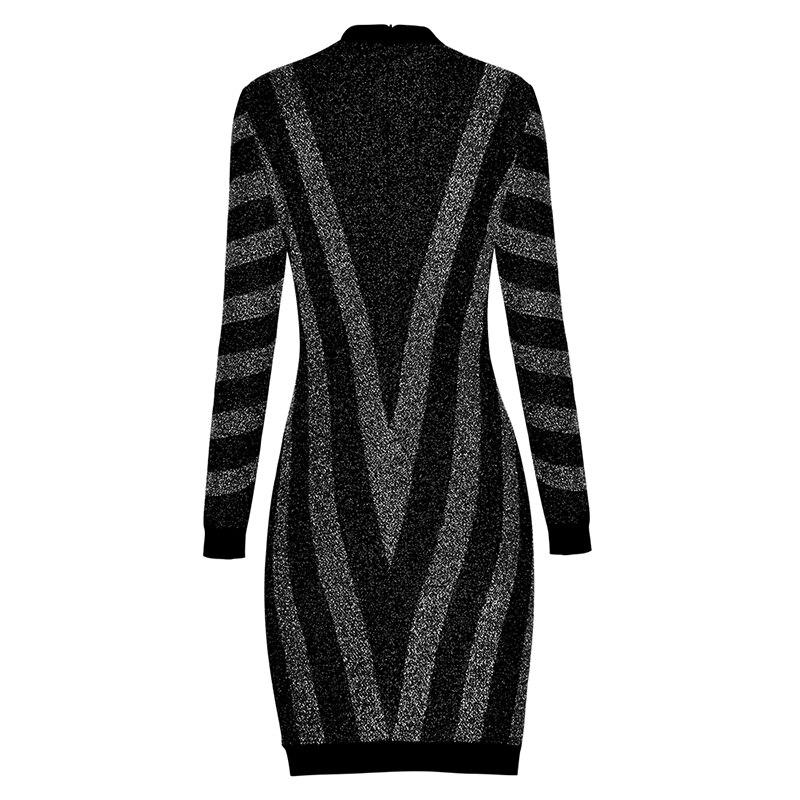 Élégant Rayé Longues 2019 Qualité Haute Designer À Robe Piste De Manches Femmes Tricoter Date Ct7pwpPq