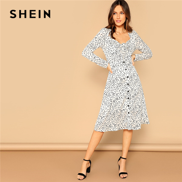 09e4ac7da87c SHEIN Retro Black and White Knot Buttoned Front Polka Dot Puff Sleeve Midi Dress  Women 2019