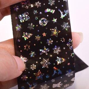 Image 3 - الجمال الكامل 100x4 سنتيمتر عيد الميلاد نمط ل مسمار ملصقا ثلاثية الأبعاد ندفة الثلج ستار الليزر بريق عيد الميلاد مسمار الفن نقل رقائق CHXK94 97