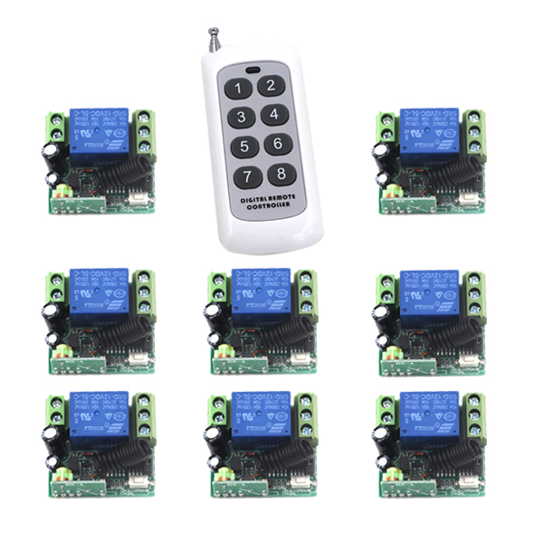 Free Shipping Wireless 1CH ON/OFF DC12V Lamp Remote Control Switch Small Receiver with Case 1Transmitter+8Receiver SKU: 5170 small relays wireless rc switch button signal line on off dc3 7 5v 12v controller remote control module