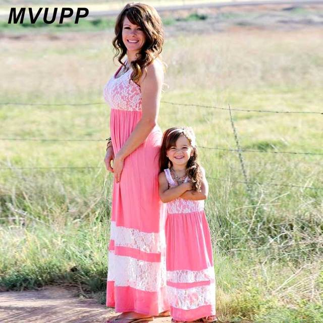 MVUPP madre hija vestidos familia mirar ropa patchwork hollow out ...