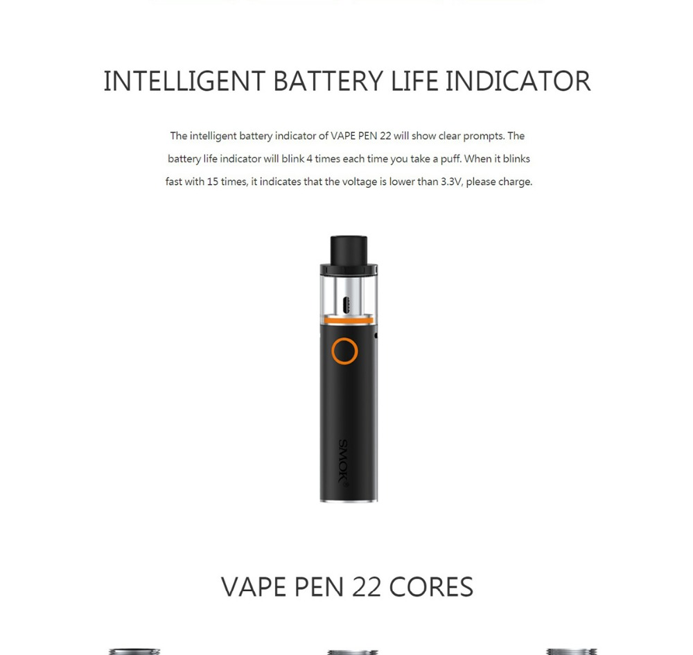 SMOK Vape Pen 22 Kit 22 Tank 0 3ohm Dual Core with Built-in