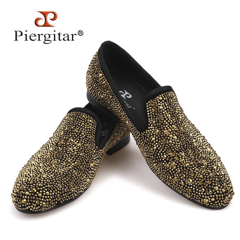 Luxury Evening Party Gold Crystals Men s Suede Crafted Slip on Shoes The Focus of Floor