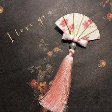 1pcs Vintage Flower Fan Hairpin Hair clip Headdress Handmade Women Wedding jewelry Gift Chinese Style Tassel Stick