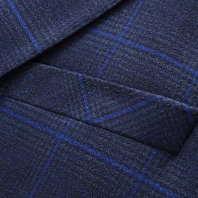 Navy Royal Blue Mens Plaid Blazer Stylish Formal Slim Fit 5XL Terno Masculino