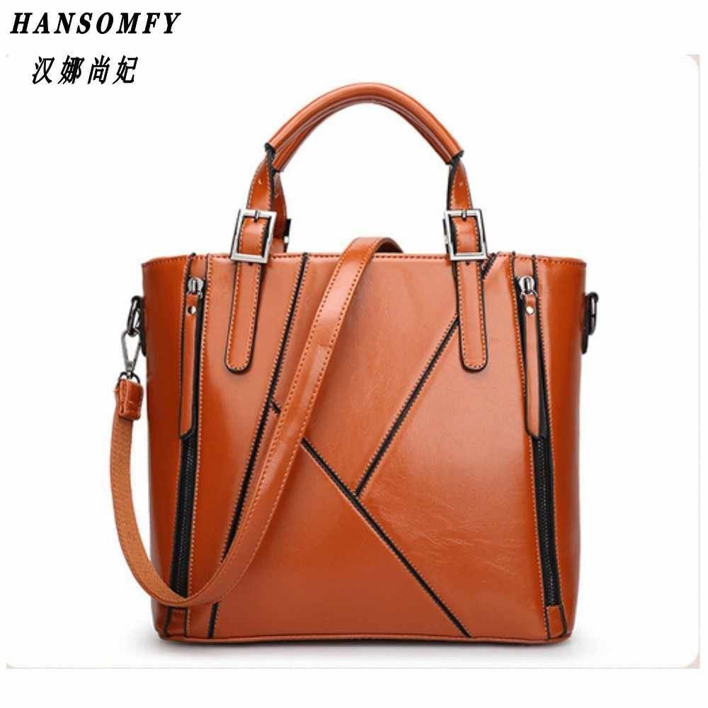 100% Genuine leather Women handbags 2019 New Europe Handbag Shoulder Messenger Bag Design stitching fashion ladies bag