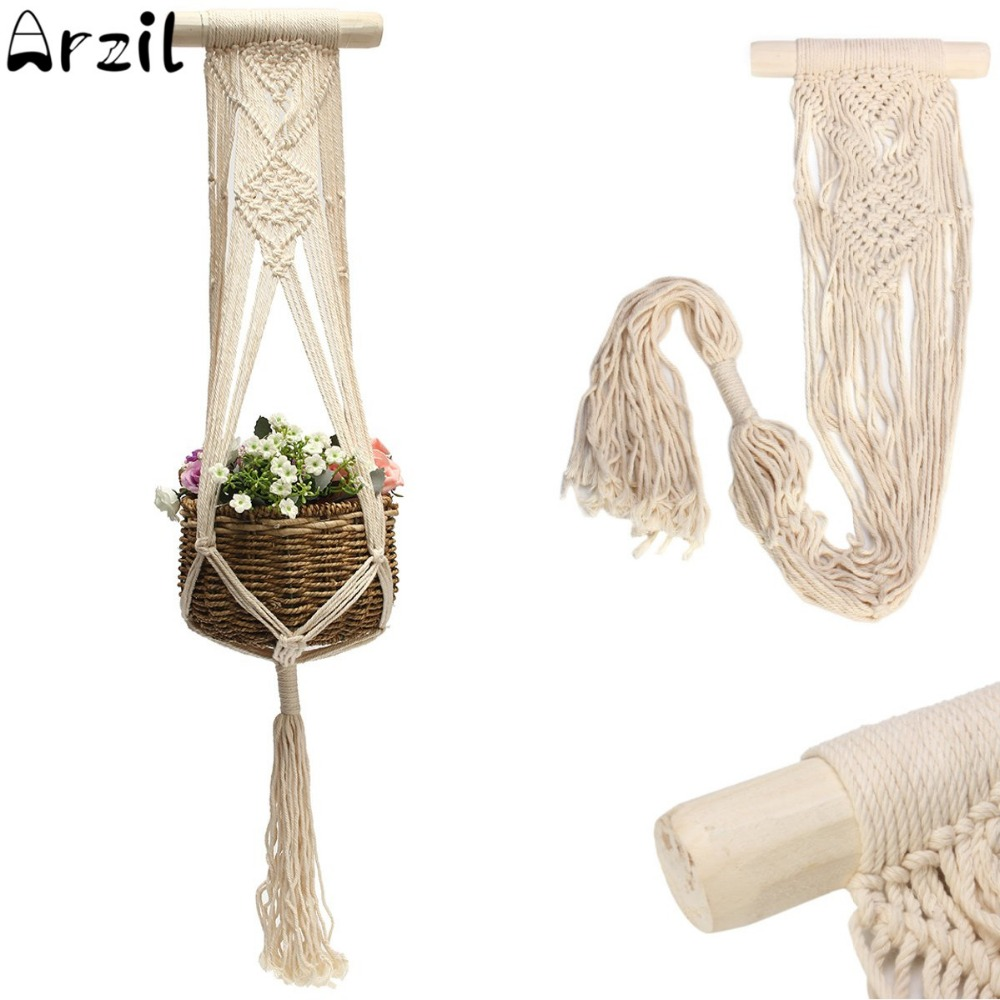 vintage macrame plants hanger 40 inch hook flower pot holder string hanging rope wall art home. Black Bedroom Furniture Sets. Home Design Ideas