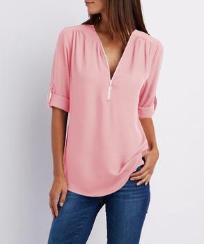 2019 핫 여성 쉬폰 셔츠 패션 v 넥 지퍼 핑크 화이트 블라우스 13 색 여성 작업복 탑스 4xl 5xl blusas ns9003