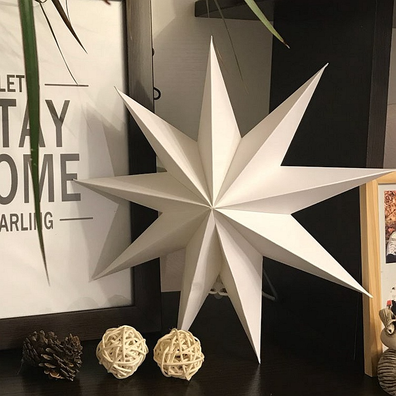 30cm 1x Krismas Lipat Kertas Bintang Lanterns 3D Hanging Bintang Kertas untuk Hujan Ulang Hari Perkahwinan Petang Parti Window Paparan