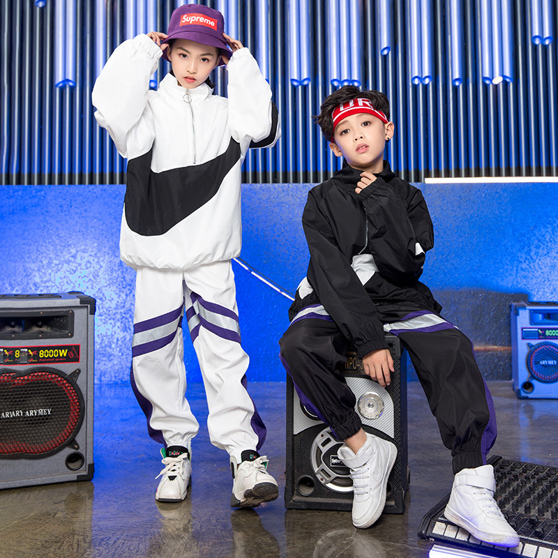 2019 Children's Street Dance Suit Loose White Black Jacket Pants Set Kids Girls Boys Hip Hop Jazz Costumes For Stage Performance
