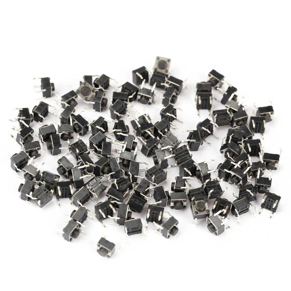 100 Pcs Tactile Push Button Switch Momentary Tact 6x6x5mm DIP Through-Hole 4pin --M25