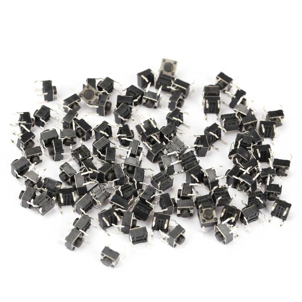 100 Pcs Tactile Push Button Switch Momentary Tact 6x6x5mm DIP Through-Hole 4pin --M25
