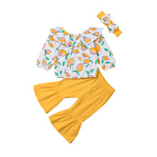купить Baby Girls clothes Off Shoulder Lemon print pullover Ruffle long sleeve Tops solid Flared Pants Bow Headband 3Pcs Kids Outfits по цене 602.46 рублей