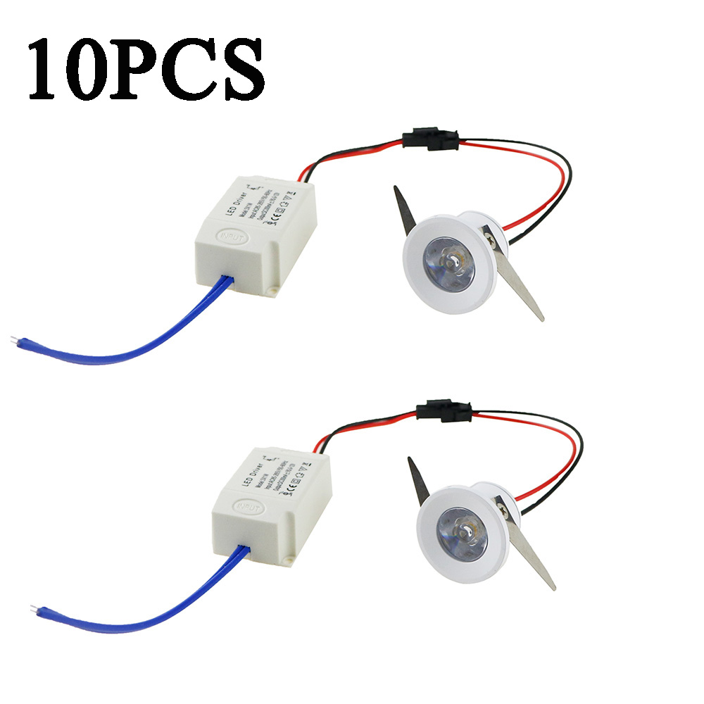 10pcs Led Recessed Cabinet mini Spot light 1W 3W Mini downlight Include Led Driver AC85-265V 31mm 21mm 8 Color Emitting Light IL