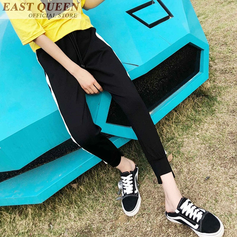 Summer sportwear pants for girl women mid waist side white strips outdoor jogging clothing drawstring high quality DD761 a
