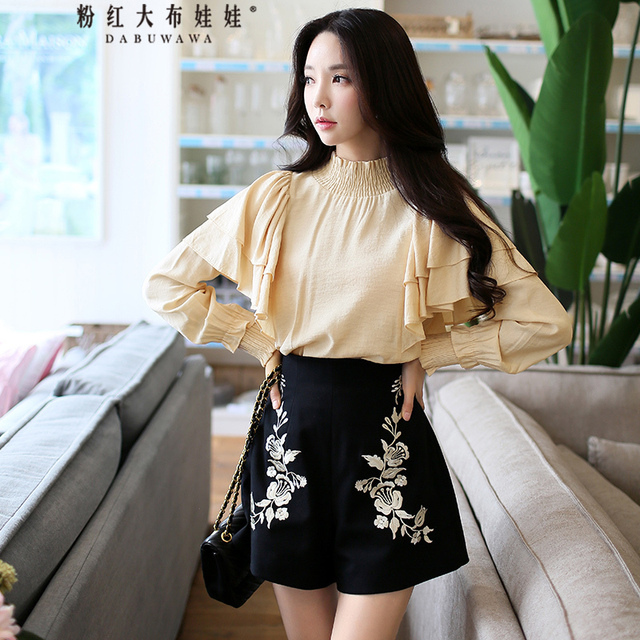3c8f84ca5f9 original 2017 new autumn winter korean fashion black embroidery shorts women  wholesale