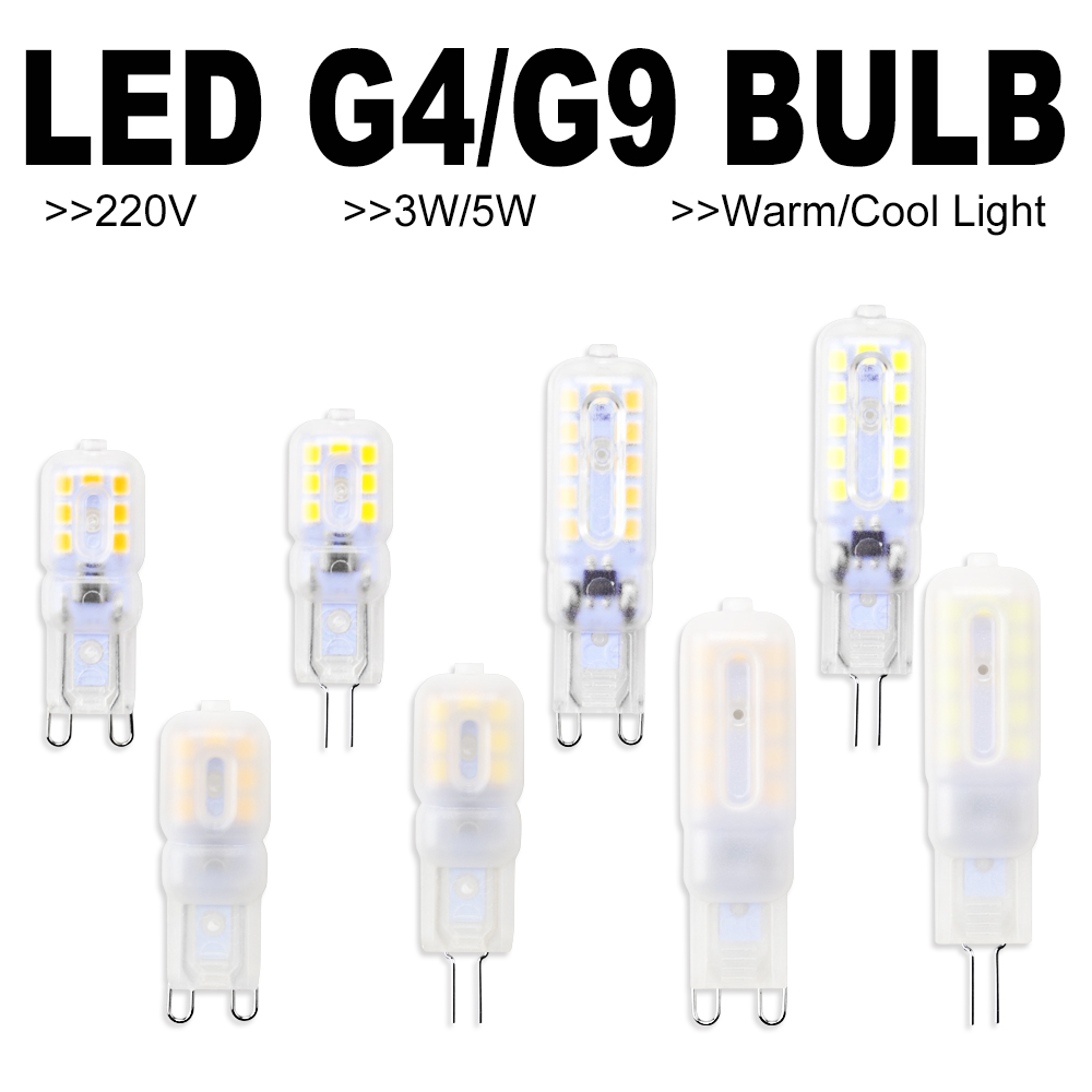 6PCS Corn Bulb <font><b>G9</b></font> <font><b>LED</b></font> Bulb 3W 5W Bombilla G4 <font><b>LED</b></font> 220V Lamp 2835 Lampada <font><b>g9</b></font> <font><b>LED</b></font> Dimmable <font><b>Light</b></font> Replace Halogen Lamp Candle <font><b>Light</b></font> image