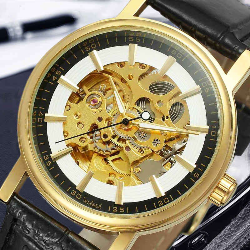 Winner New Sport Design Bezel Golden Watch Mens Watches Top Brand Luxury Montre Homme Clock Men Automatic Skeleton Watch forsining 3d skeleton twisting design golden movement inside transparent case mens watches top brand luxury automatic watches